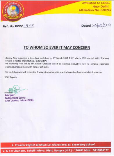 Testimonial By Pratap World School