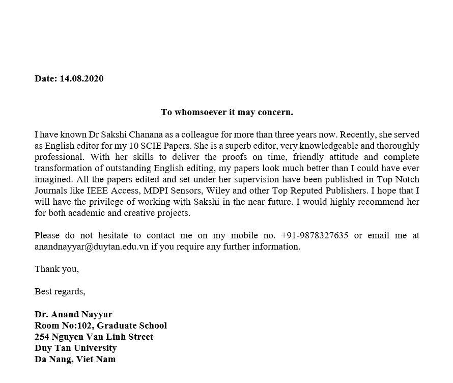 Recommendation Letter by Dr. Anand Nayyar