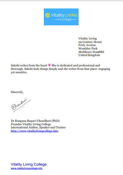 Recommendation Letter for Dr.Sakshi Chanana by Vitality College London